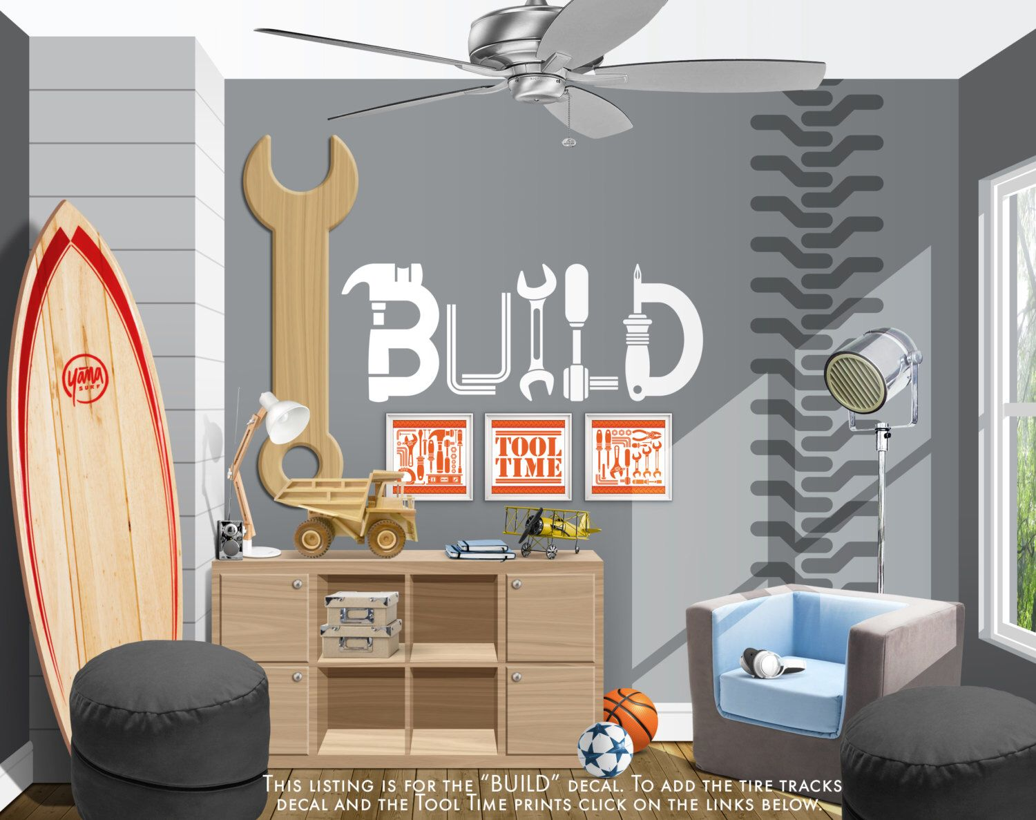 Build Vinyl Wall Decal Tool Wall Decal Construction Wall Decal - How to put up a vinyl wall sticker