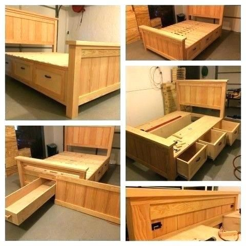 How To Build A Platform Bed With Storage Drawers Plans Diy Bed