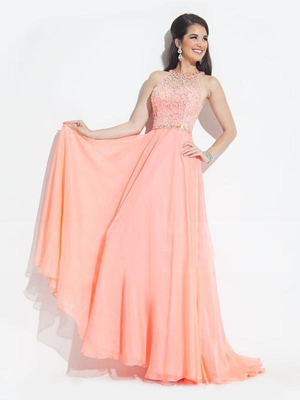 Pearl Pink A Line Jewel Sleeveless Long Chiffon Prom Dress With ...