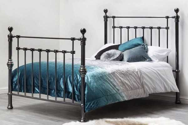 York Metal Bed Frame Black Nickel Finish Vintage Victorian Contemporary Double King Size