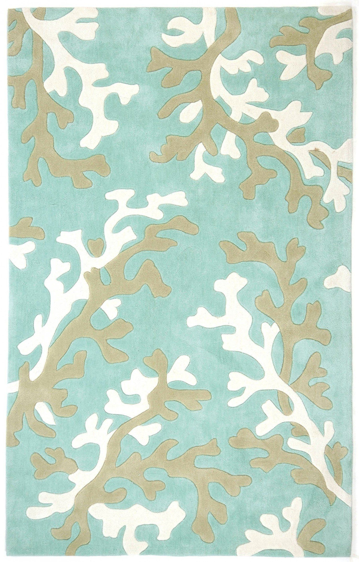 Jaipur Fusion Coral Fixation Fn06 Turquoise Blue White Rug