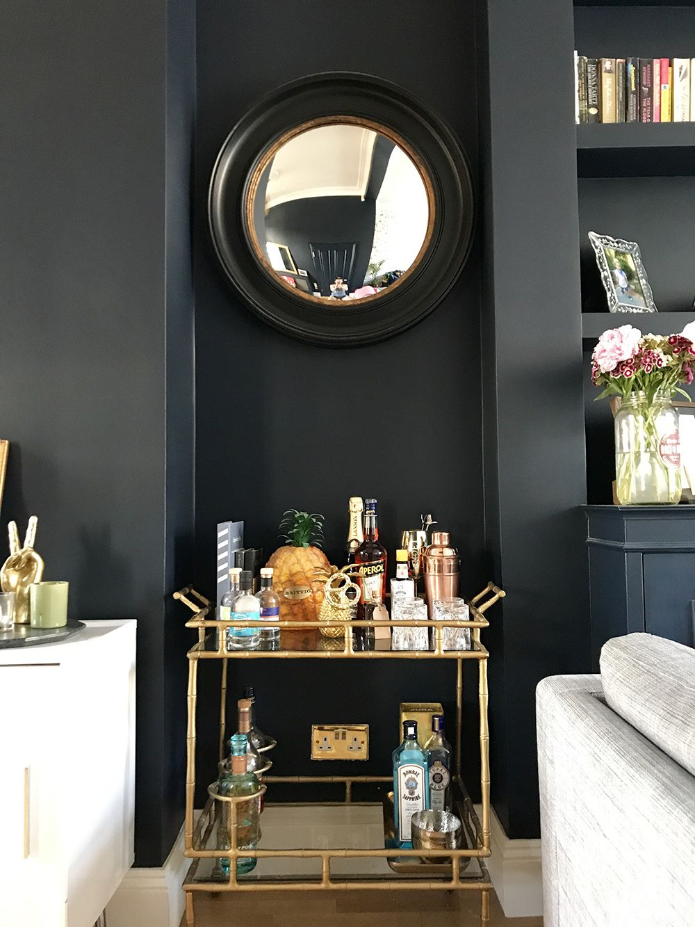 Superior After: Living Room Transformation. Opulent Gold Accessories Paired With  Basalt By Little Greene, Nice Ideas