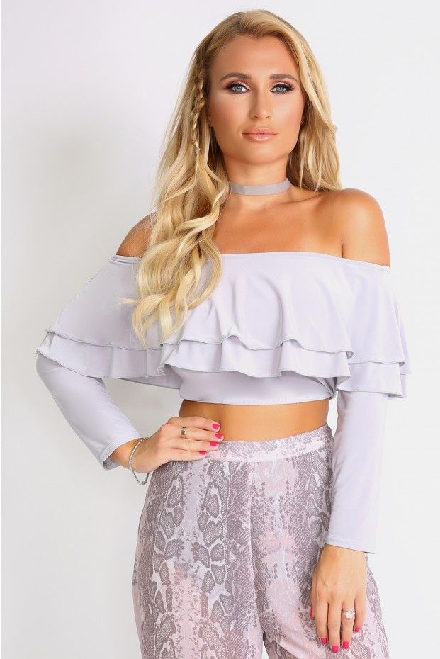Billie Faiers Grey Off The Shoulder Frill Crop Top