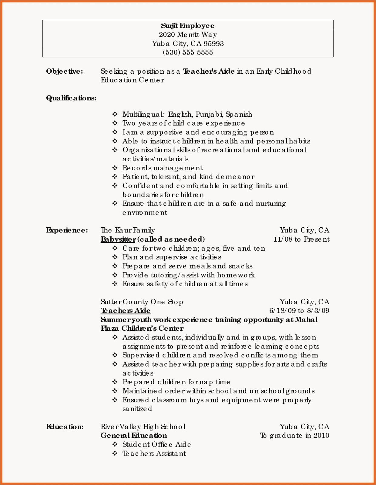 Teacher Resume Examples 2020 Beautiful Preschool Teacher