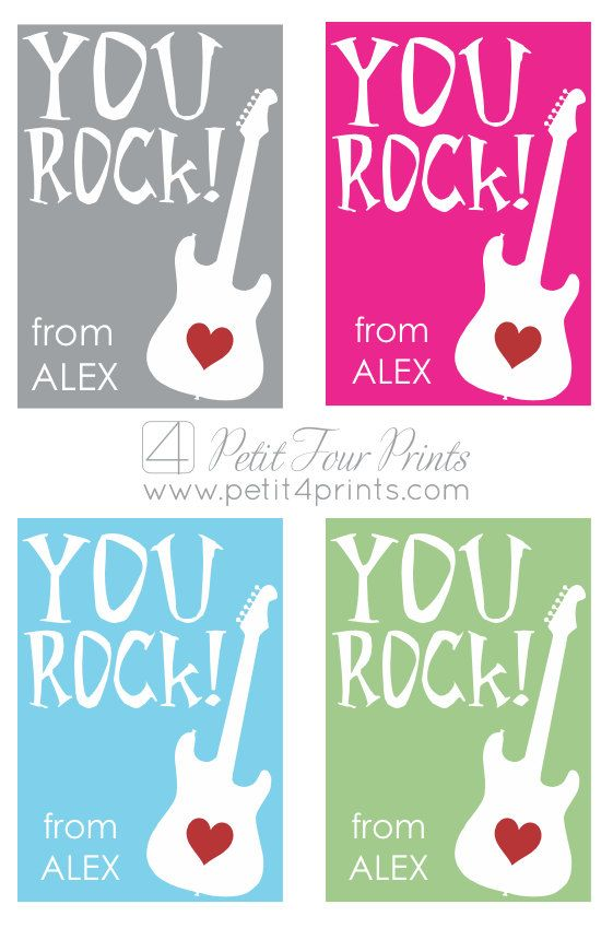 photo regarding You Rock Valentine Printable identify Guitar \