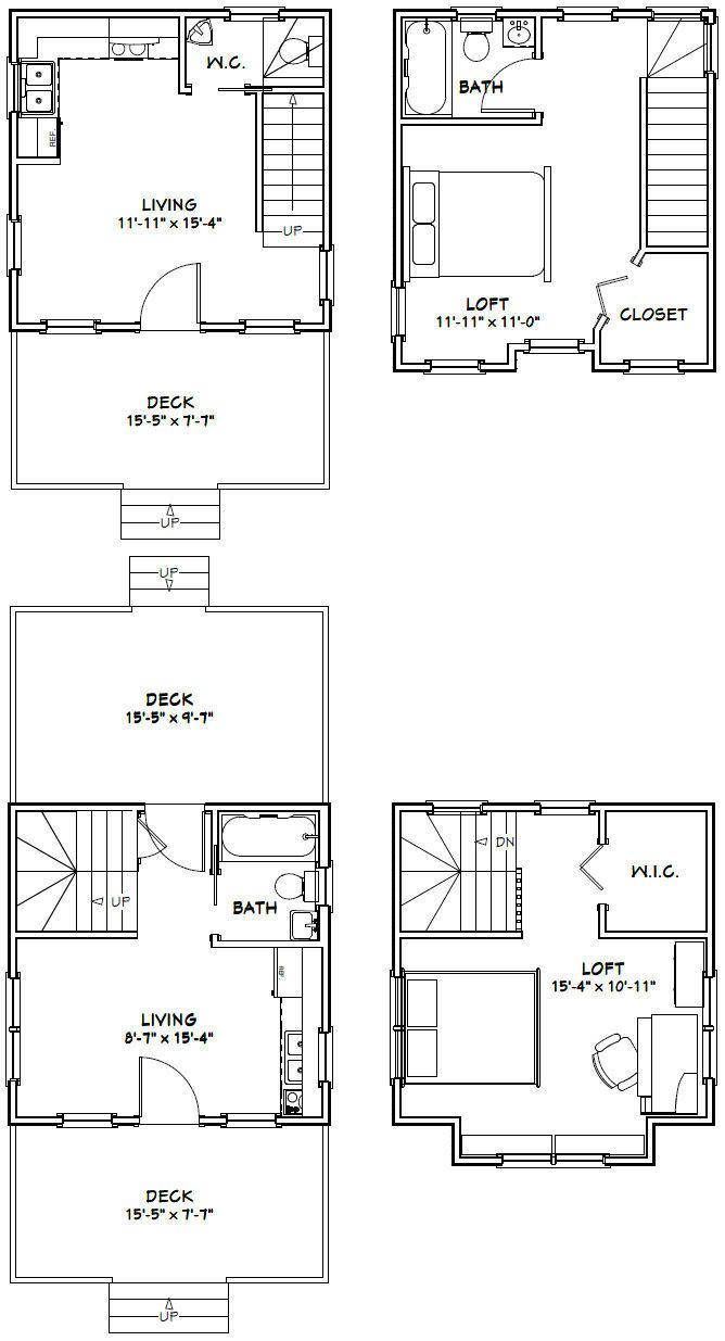 Two Floor Plans For 16 X 24 House And 16 X 39 House House Plans Floor Plans House Floor Plans