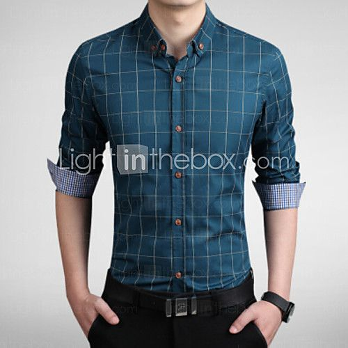 Men's Fashion Plaid Slim Fit Business Long Sleeved Shirt 2016 - £11.19