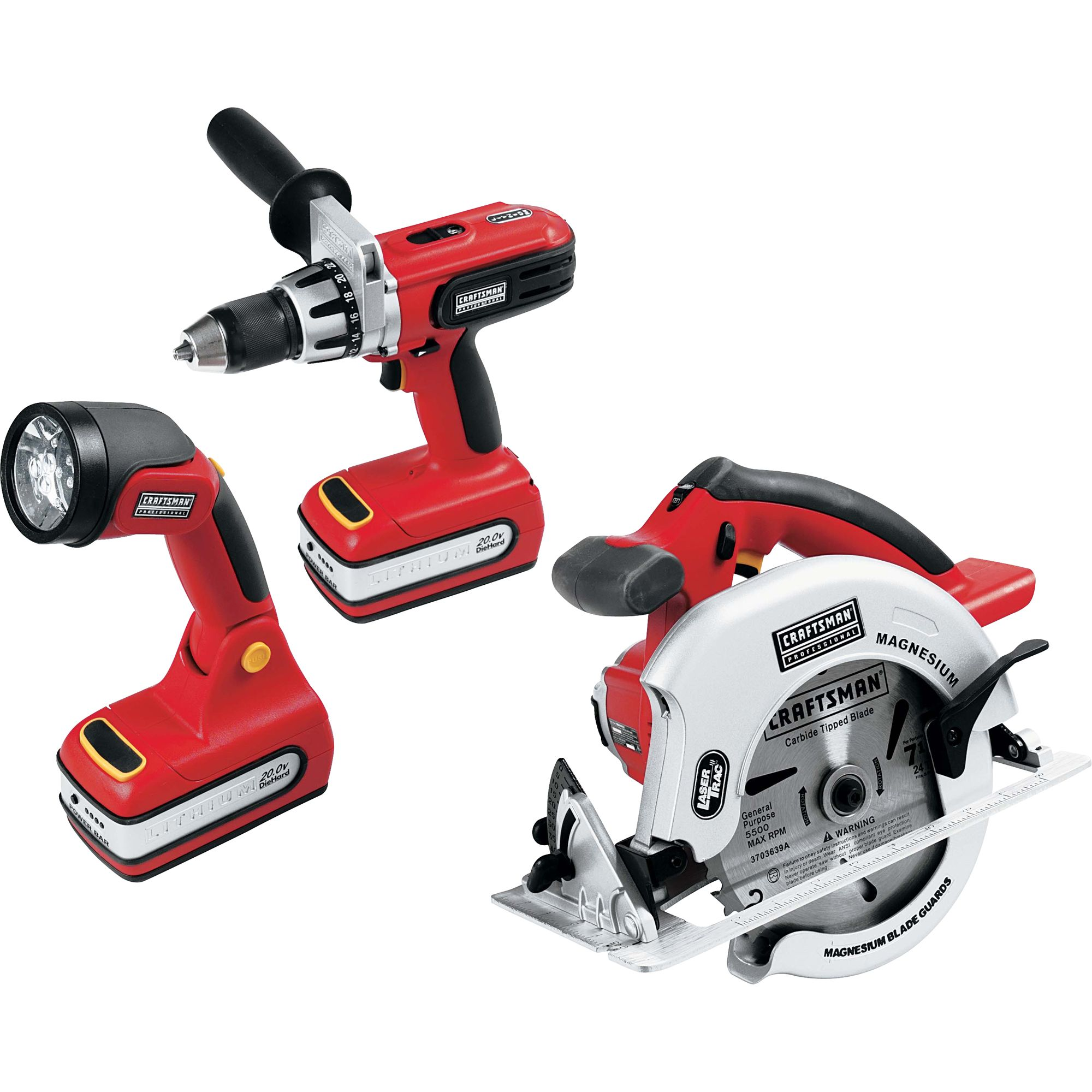 Craftsman 26325 20 Volt Lithium Ion Cordless 3 Tool Combo Kit Drill Driver Circular Saw Led Worklight Red Craftsman Power Tools Craftsman Tools Combo Kit