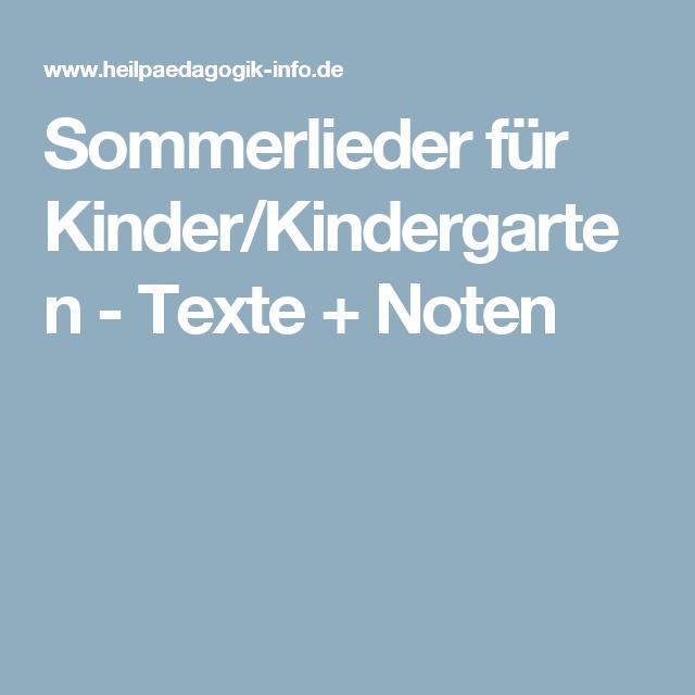 Sommerlieder Für Kinderkindergarten Texte Noten