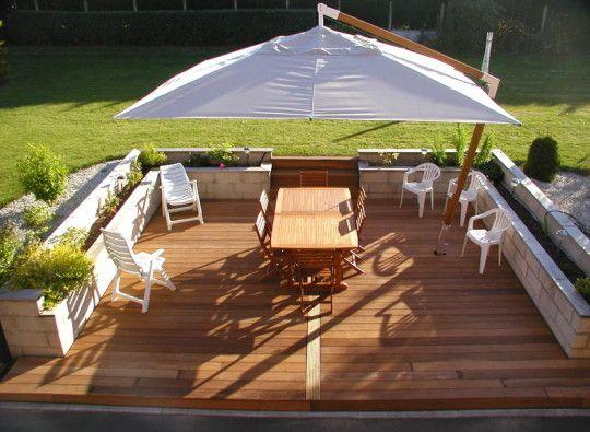 Terrasse en contre bas google search cottage - Construction jardiniere palette ...