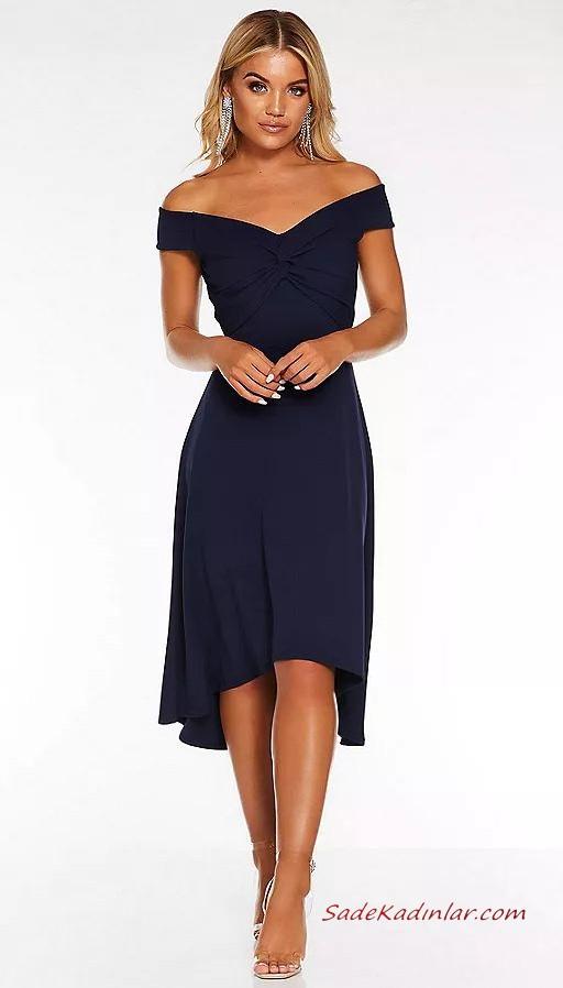 2020 Abiye Elbise Modelleri Lacivert Onu Kisa Arkasi Uzun Etekli Genis Yakali The Dress Elbise Modelleri Elbiseler