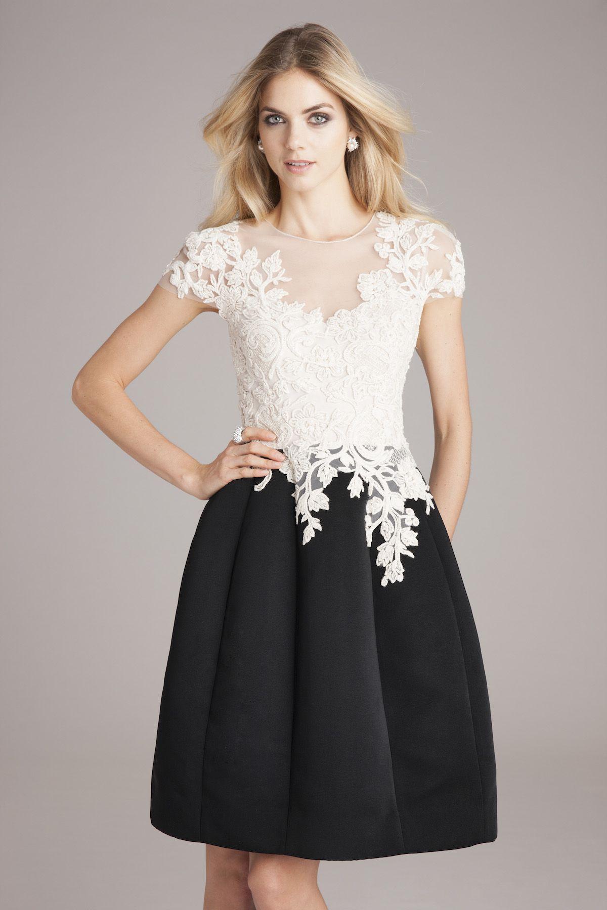 Gorgeous Black And White Designer Dress White Lace Top Silk
