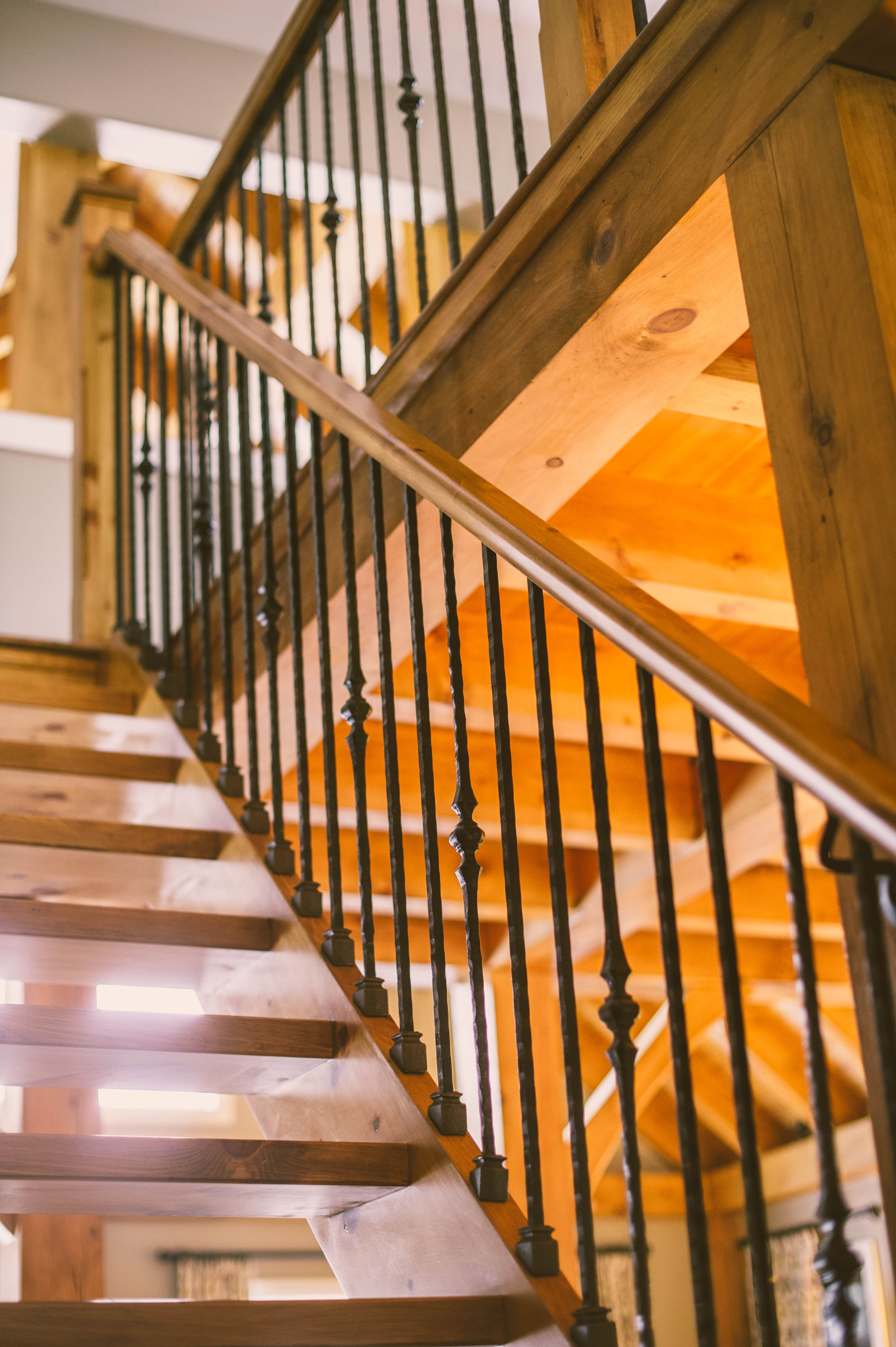 Marvelous Standard: Stain Grade Pine Stairs, Nosing And Railings With Open Tread To  The Loft