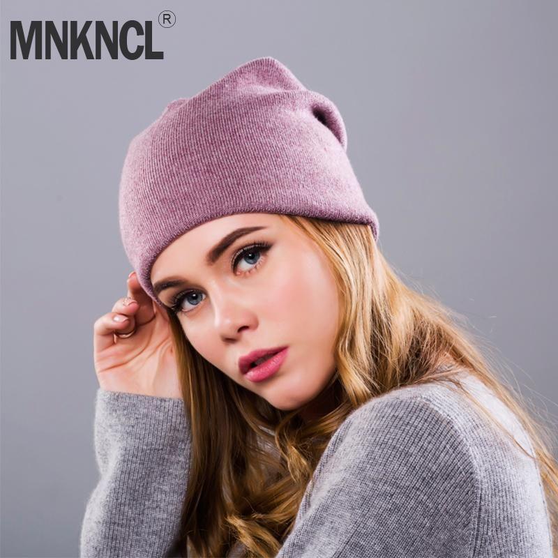 35eea709240 2018 New Women's Winter Hat Knitted Wool Beanie Female Fashion ...