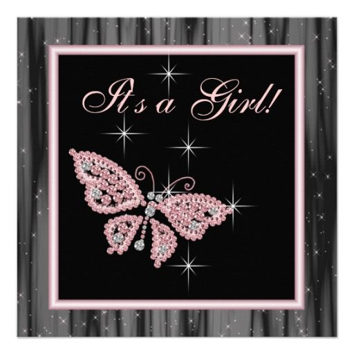 Jewel Butterfly Pink Black Baby Girl Shower Invitation ...