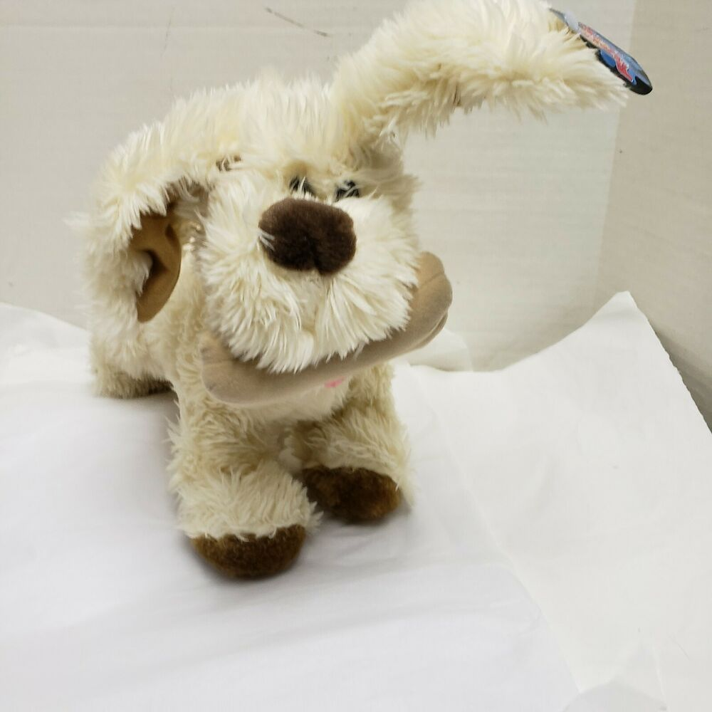 Toy Factory Shaggy White Brown Dog Puppy Dog Toy Plush Stuffed