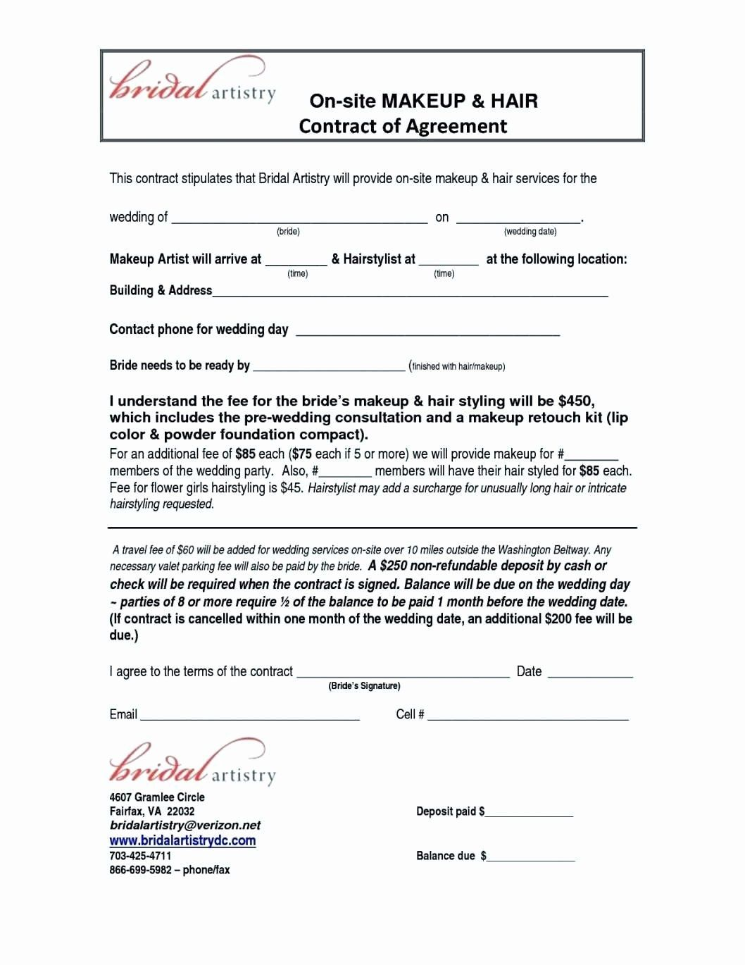 Hair Stylist Contract for Wedding New Wedding Contracts
