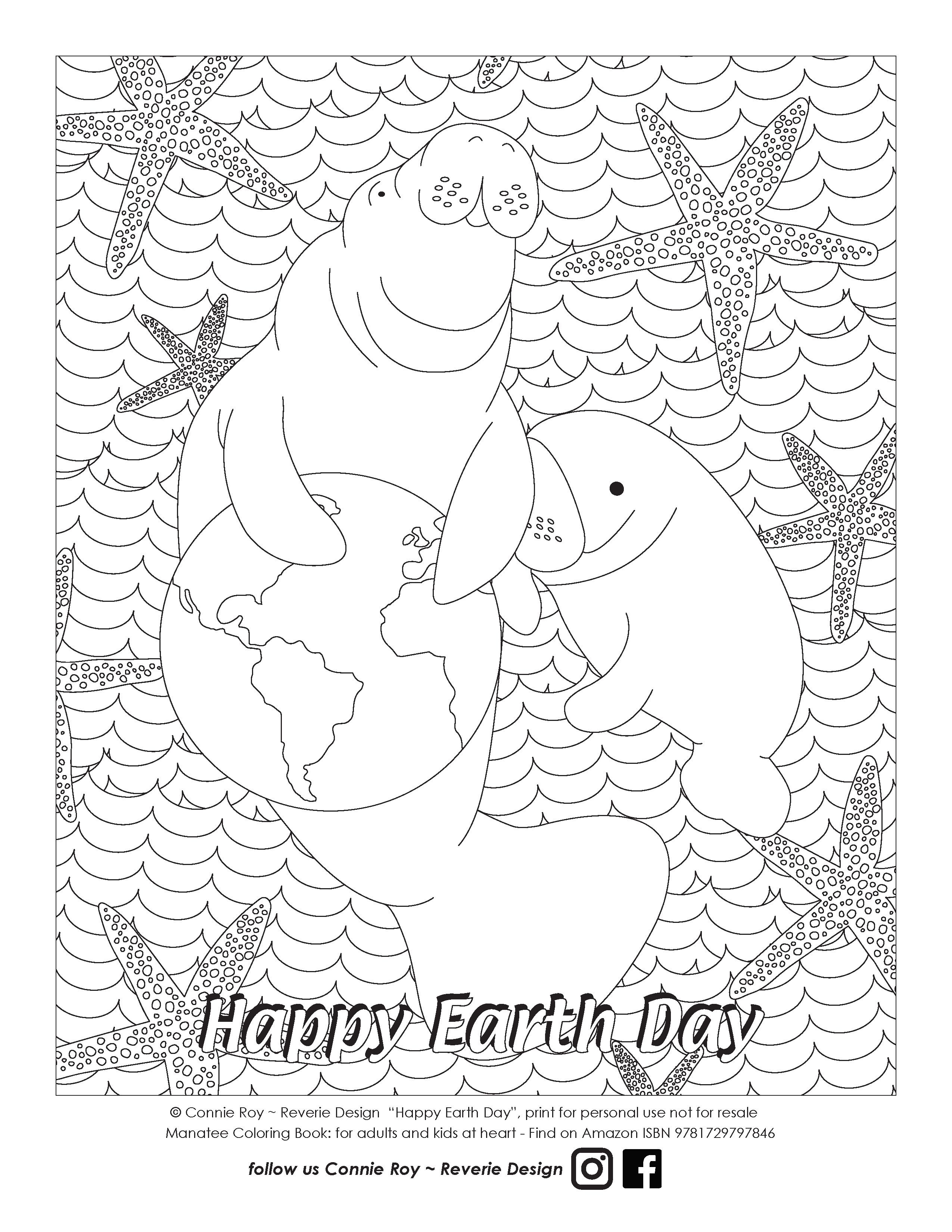 Earth Day Manatee Coloring Page In 2020 Earth Day Coloring Pages Coloring Pages Color