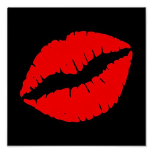 Red Kiss Poster Zazzle Com Pink Lips Hot Pink Lips Hot Pink
