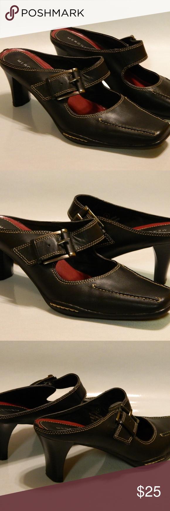 e970f83f8fa MERONA Mary Jane Mules Shoe Leather Black Sz 8 EUC MERONA Women s Mules  Mary Jane Slides