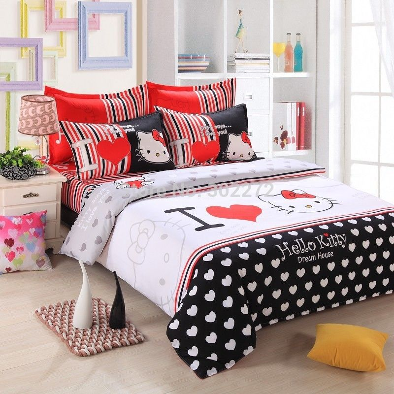 Unikea Home Textiles Bedclothes Heart Shaped Hello Kitty Child Bedding Sets Include Duvet Cover Bed Sheet Hello Kitty Bed Duvet Bedding Sets Queen Bedding Sets