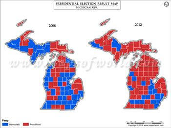 Michigan Election Results Map 2008 Vs 2012 USA Presidents
