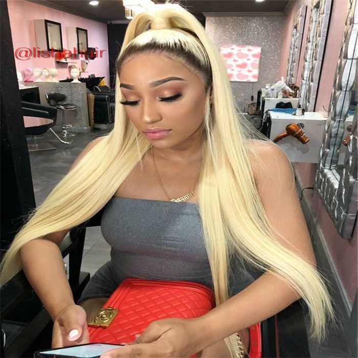 Dark Roots 1b Pink And 1b Blonde Silky Straight Human Hair 13x6 Lace Front Wig LS11281