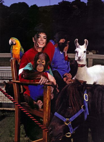 Michael Jackson with his pets at Neverland
