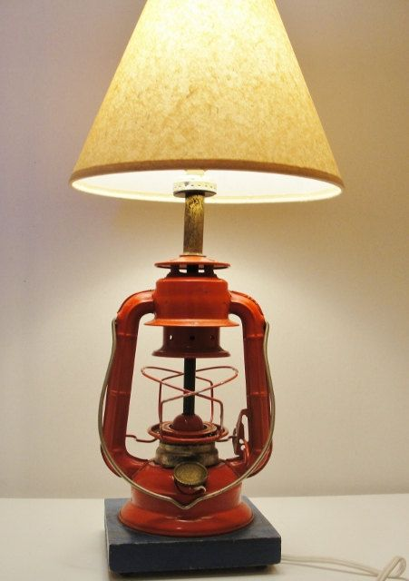 Antique Oil Lantern made into an electric table lamp ...