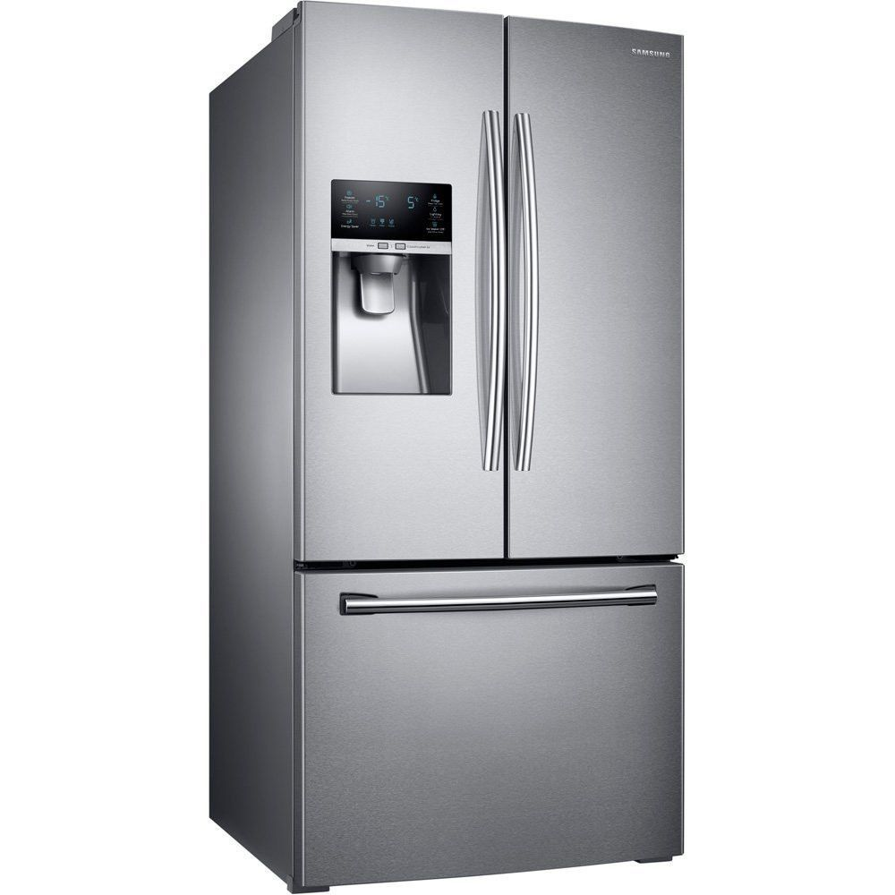 Large Samsung Stainless Steel French Door Refrigerator Counter