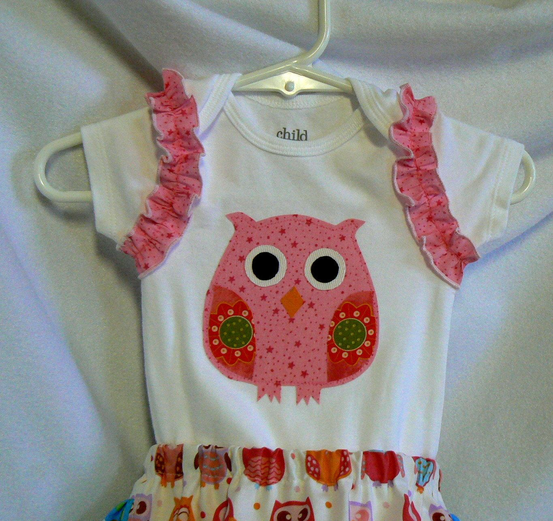 Baby clothes girl owl applique onesie ruffle diaper