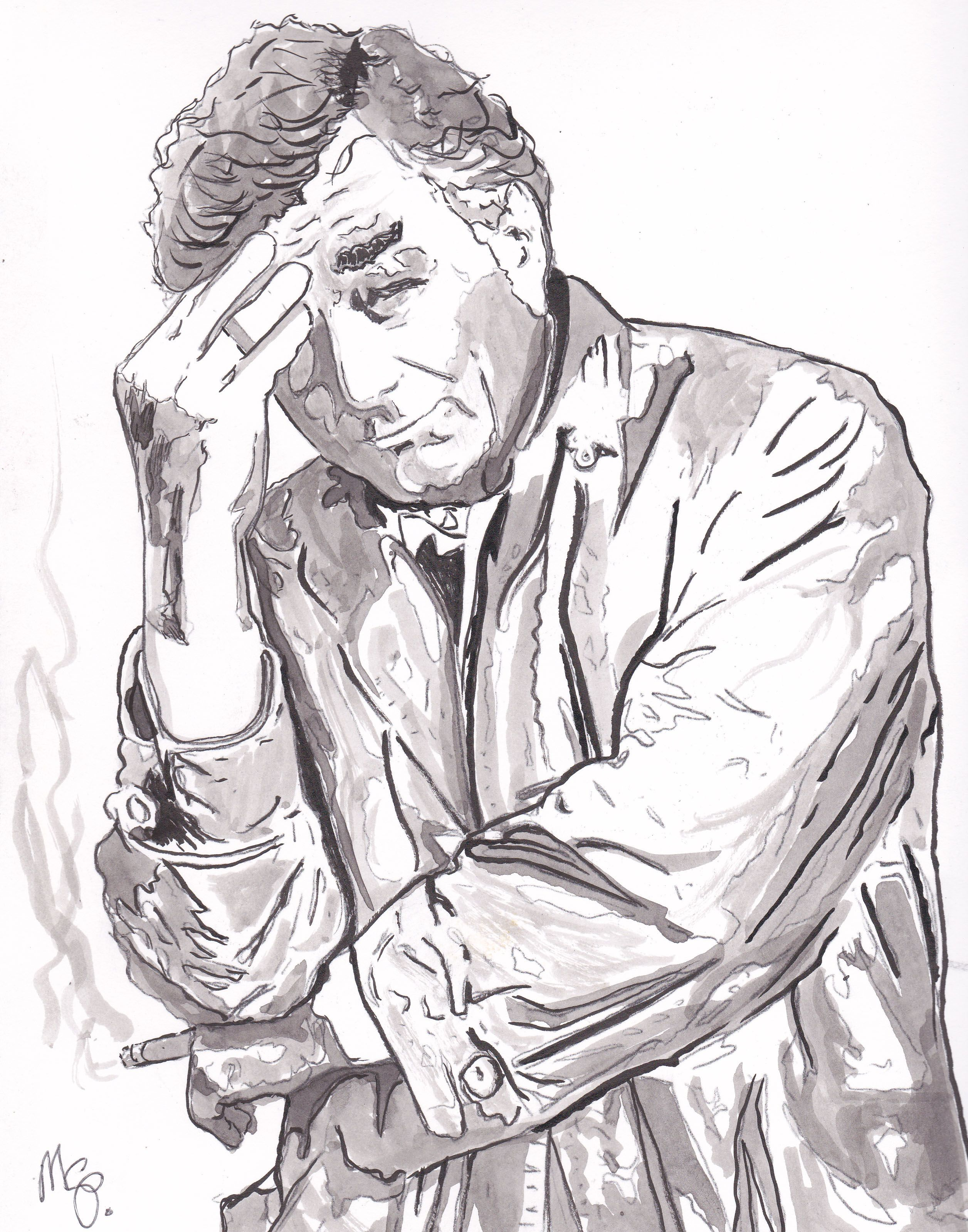 Columbo, Peter Falk, 12 by 9 smooth watercolor paper, ink