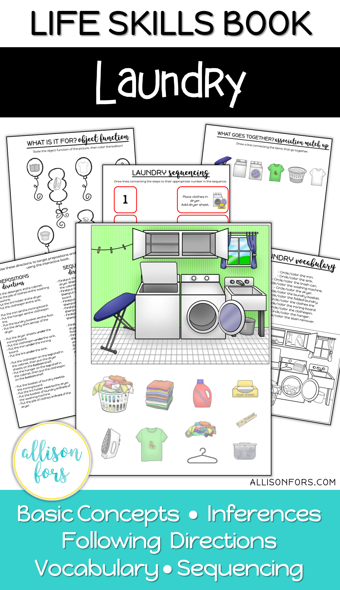 Laundry Life Skills Interactive Book Speech Therapy