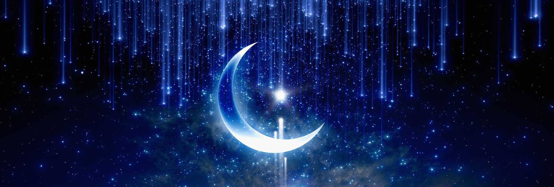 Star Moon Space Blue Background