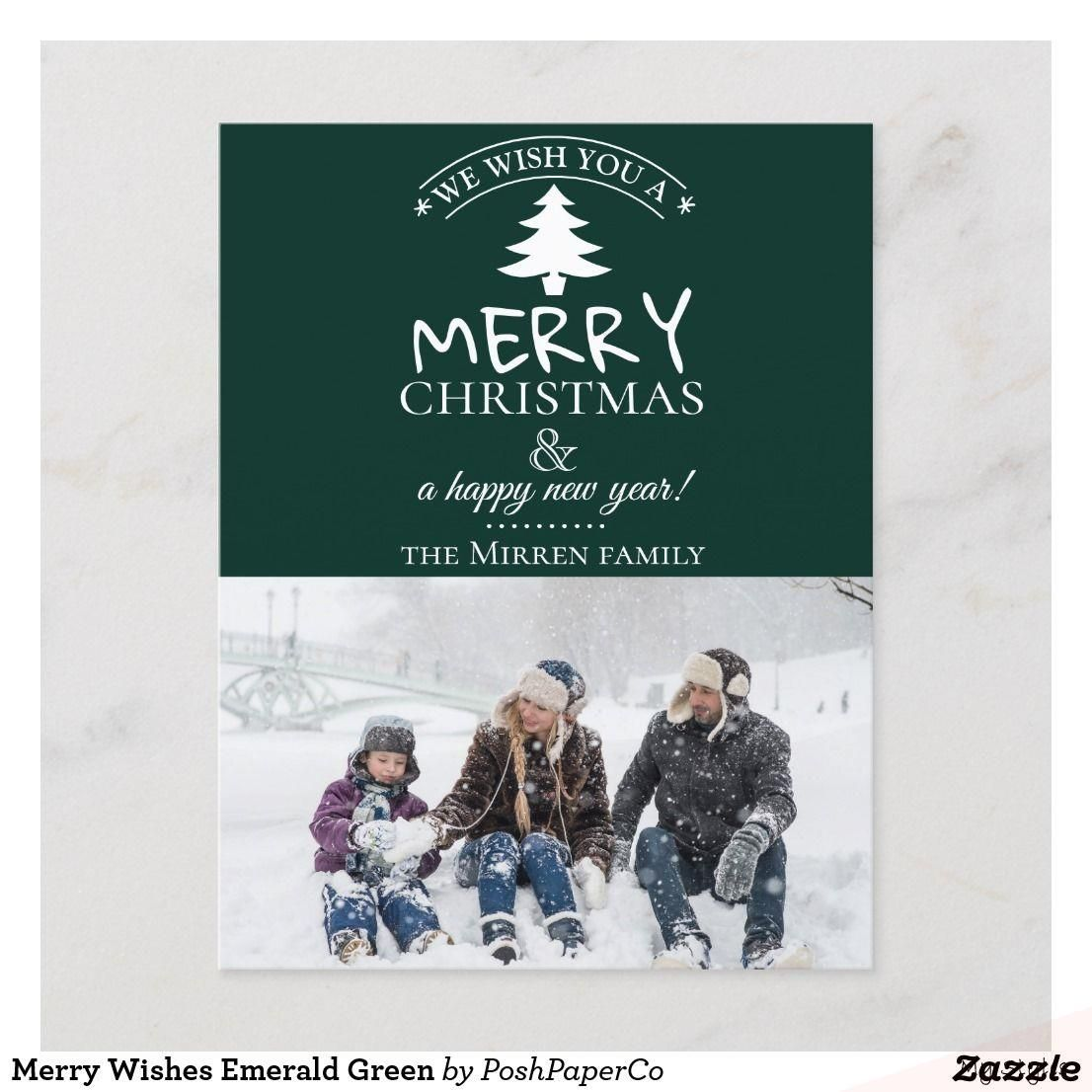 Merry Christmas And Happy New Year Green And Cream 2020 Aug 24, 2019   Merry Wishes Emerald Green Holiday Postcard in 2020
