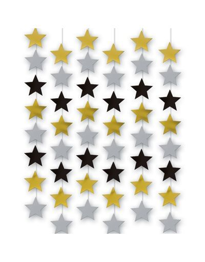 Silver Black Gold Star Hanging Decorations Party City Black Gold Party Graduation Party Decor Online Party Store
