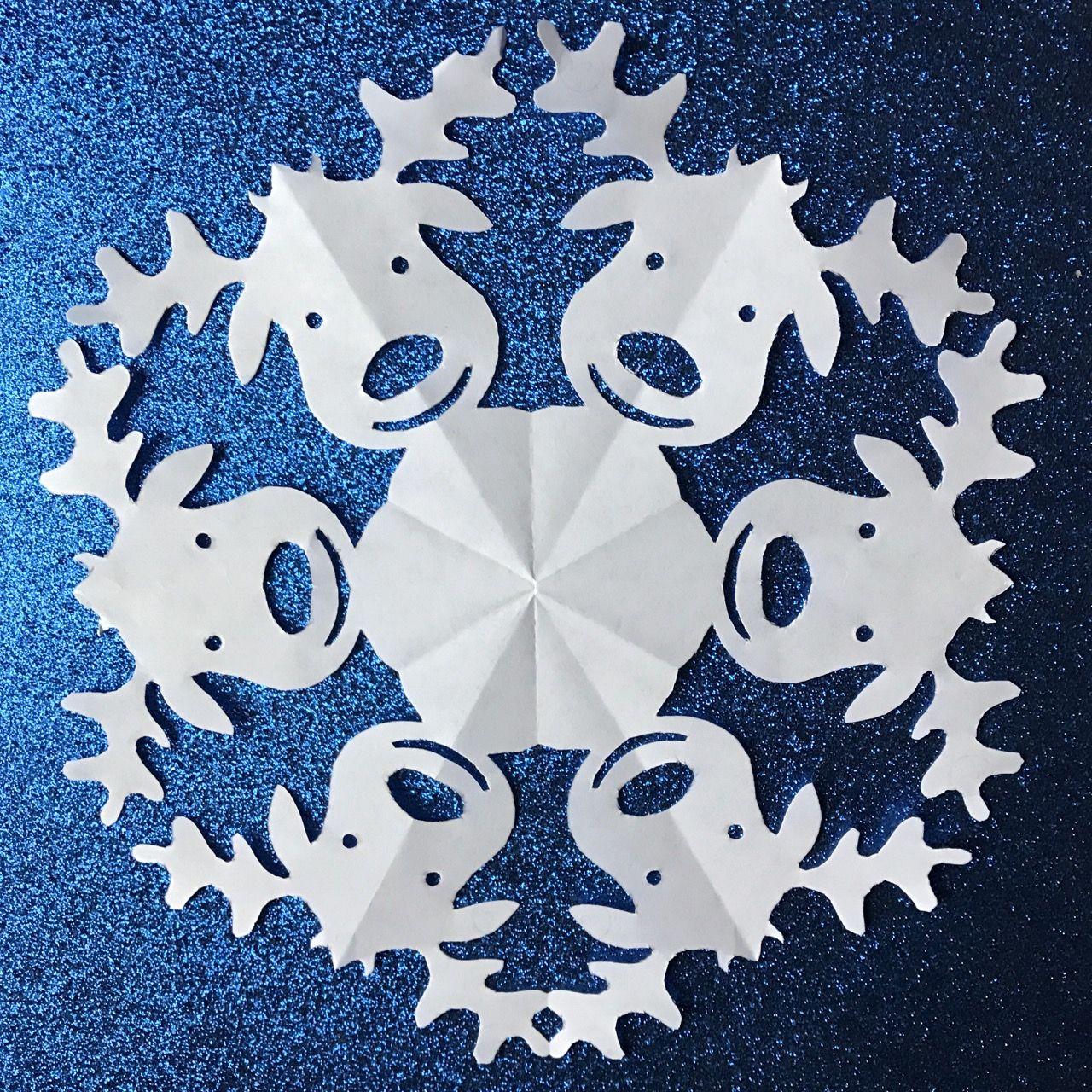 reindeer paper snowflake template  Reindeer (PDF | Paper snowflake patterns, Paper snowflakes ...