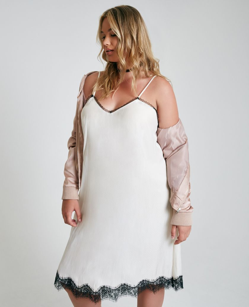 Plus Size Midi Slip Dress With Lace Trim Plus Size Midi Slip Dress