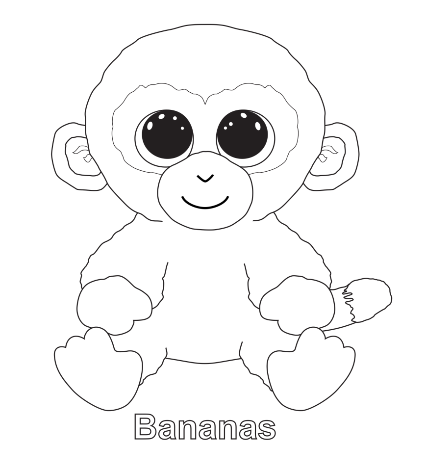 Beanie Boo Coloring; Bananas | Tree coloring page, Baby ...