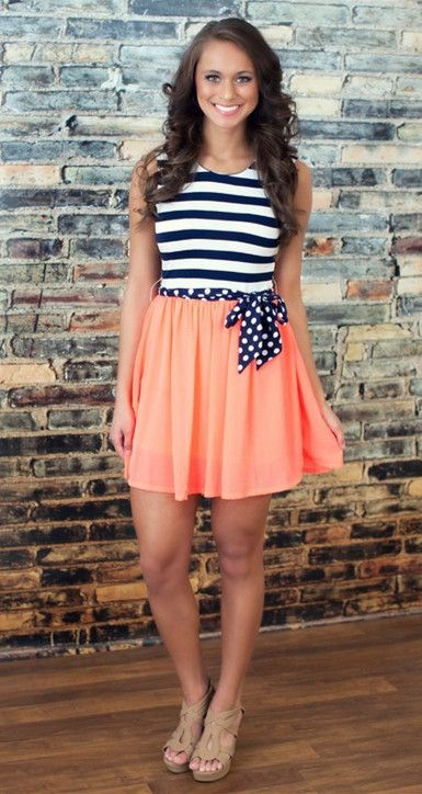 Night On The Harbor Neon Coral Dress