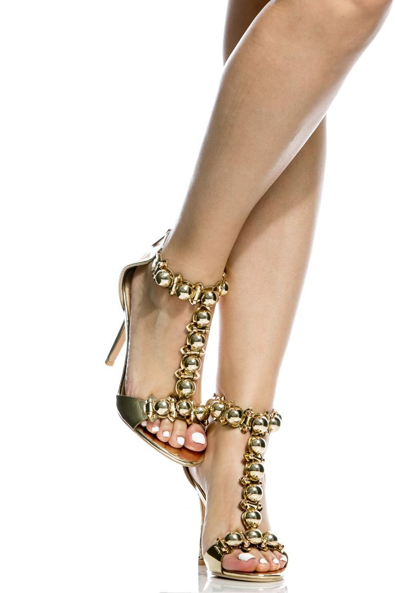 582a290dd096 Gold Faux Leather T Strap Single Sole Heels   Cicihot Heel Shoes online  store sales