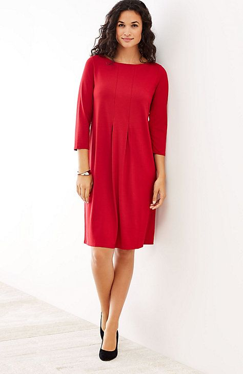 """Wearever center-pleat dress - $99 - $109  TRUE RED  Pullover knit dress has 2 inverted pleats at the front & back for subtle shaping. Boat neckline. Virtually wrinkle free. Made from soft European yarns. Above-knee length: M 38½"""", P 36½"""", W 41"""" 3/4 sleeves 95% rayon and 5% Lycra® spandex knit Machine wash, tumble dry, low"""