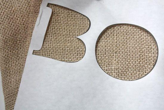 stencil paint on burlap with freezer paper
