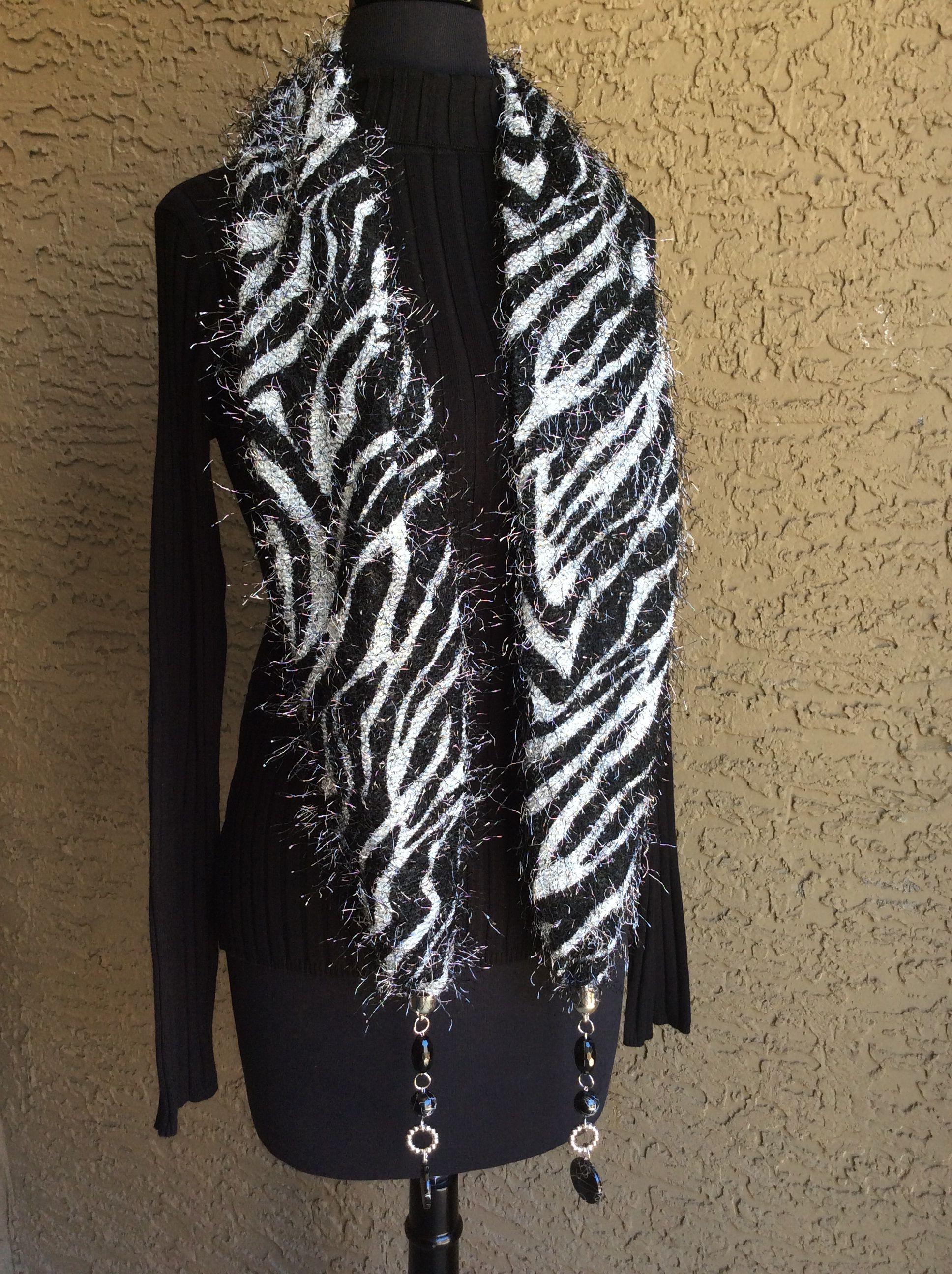 Zebra print winter scarf www.theleopardladyboutique.com