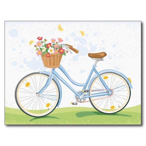 Bicicleta del vintage con la cesta de la flor cartoon - Cestas para bicicletas ...