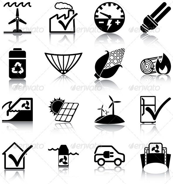 Renewables Icons — JPG Image #panel #wave • Available here