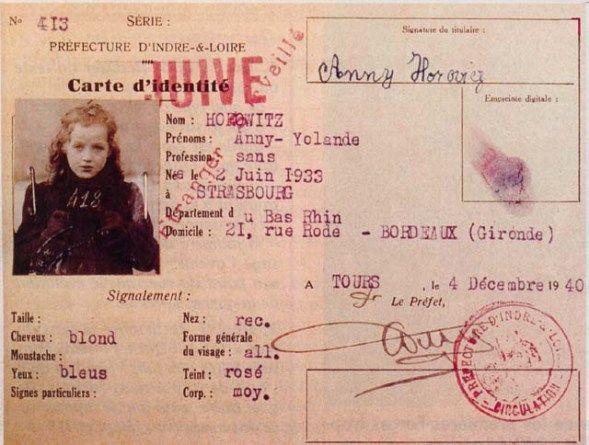 Evacuations Des Juifs Alsaciens Mosellans Carte D Identite