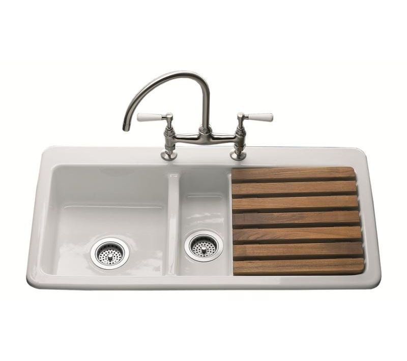 Modern Smooth Drainer, The Epicurean 1.5 Bowl Ceramic Kitchen Sink ...