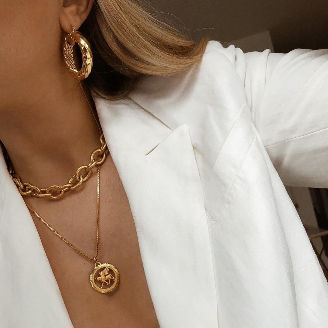 """Photo of CENDRÉ JEWELLERY ?⚡️ on Instagram: """"One of our ultimate muse's @vdenuzzi wearing our 1960 Hoops and Margaux Chain Necklace ?"""""""