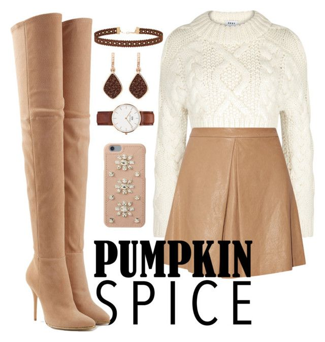 """Pumpkin spice"" by anzheli55ka on Polyvore featuring DKNY, Alice + Olivia, Balmain, Miss Selfridge, H.Azeem, Daniel Wellington and MICHAEL Michael Kors"